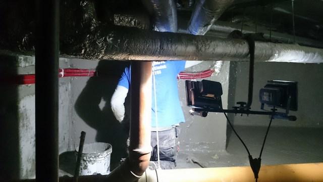 Wykonanie wanny wewnętrznej w kanale technologicznym pod Filharmonią Koszalińską przy użyciu mas izolacyjnych (AQUAFIN-1K i AQUAFIN-2K/M) z doszczelnieniem przejść wody żywicą poliuretanową AQUAFIN-P4 w technologii Schomburg